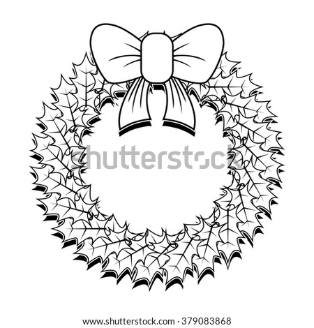Christmas Wreath Outline Stock Photo Vector Illustration