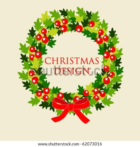 Christmas wreath, vector card design - stock vector