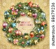 Christmas wreath with baubles and christmas tree. Vector illustration. - stock photo