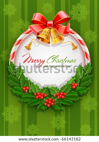 christmas wreath with bow and gold bell vector illustration on green background with snowflakes - stock vector