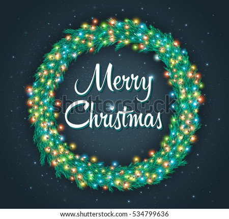 Christmas Wreath Lights Stock Images Royalty Free Images  - Christmas Wreath Lights