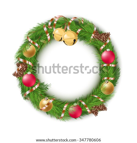 Christmas Wreath with Decorations and Pine Cones on White Background - stock vector