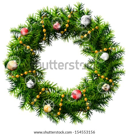 Christmas wreath with decorative beads and balls. Wreath of pine branches isolated on white. Vector image for new year's day, christmas, decoration, winter holiday, design, new year's eve, silvester.. - stock vector