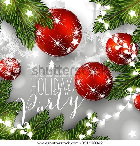 Christmas wreath with fir branch - stock vector