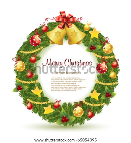 Christmas wreath with gold bells. - stock vector
