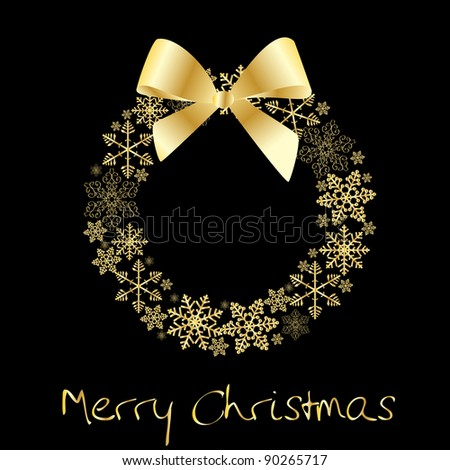 Christmas wreath with golden bow - stock vector