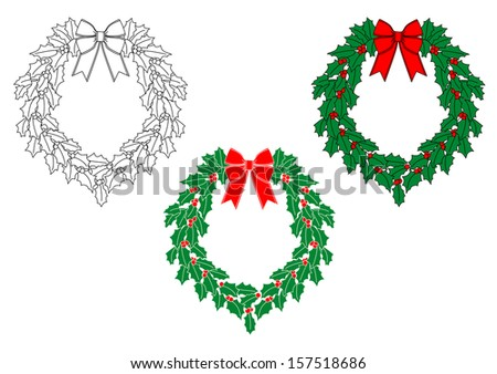 Christmas wreath with holly, berries and ribbons for holiday design. Jpeg version also available in gallery - stock vector