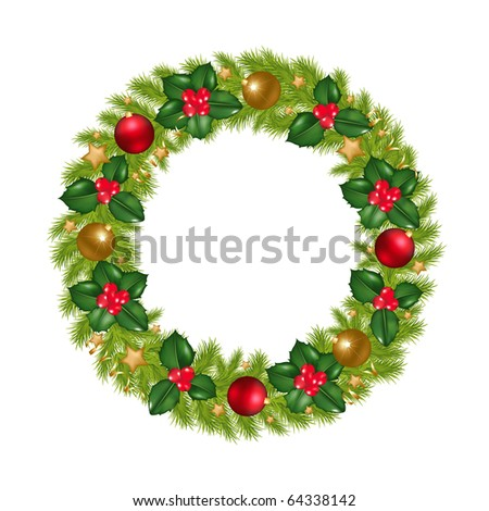 Christmas Wreath With New Year's Spheres, Stars, Streamer And Holly Berry, Isolated On White Background, Vector Illustration - stock vector