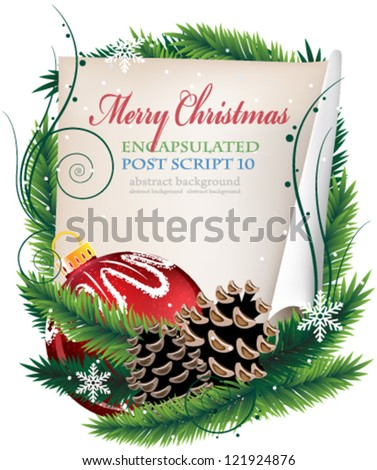 Christmas wreath with old parchment, red bauble and pine cones on a white background - stock vector