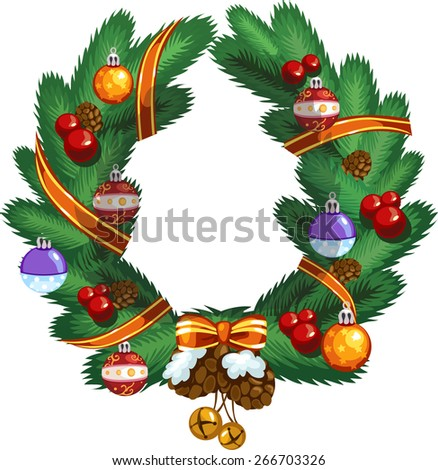 Christmas wreath with ornaments - stock vector