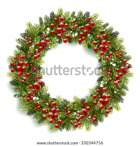 Christmas wreath with red berries and snow isolated on white background. Vector illustration - stock vector