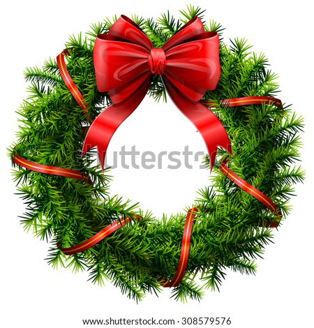 Christmas wreath with red bow and ribbon. Decorated wreath of pine branches isolated on white. Vector image for new year's day, christmas, decoration, winter holiday, design, new year's eve, etc - stock vector