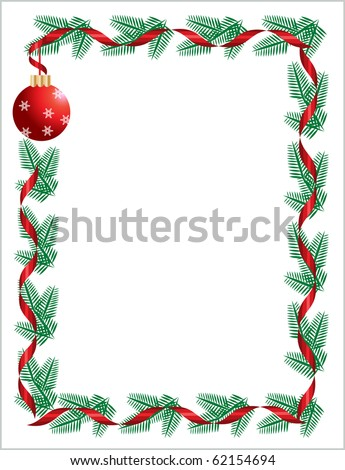 Christmas wreath with red ribbon and ball. greeting card template