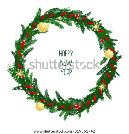 Christmas wreath with red ribbon, gold balls and snowflakes on evergreen branches. New Year symbols. Vector illustration. Winter picture can be used for postcard, invitation, web design, banner.  - stock vector