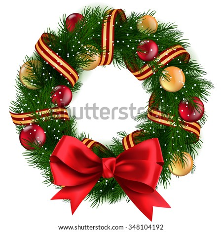 Christmas Wreath with ribbons, balls and bow isolated - stock vector