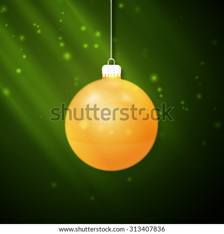 Christmas yellow ball on a green background - stock vector