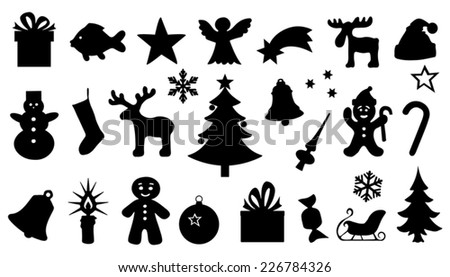 chritmas silhouttes on the white background - stock vector