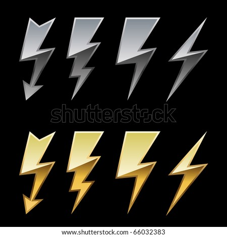 Chrome and golden lightning icons isolated on black background. - stock vector