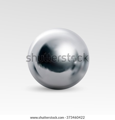 Chrome ball realistic isolated on white background - stock vector