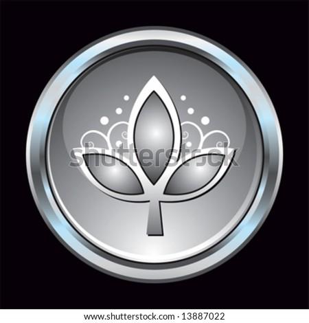 Chrome button leaf symbol - stock vector