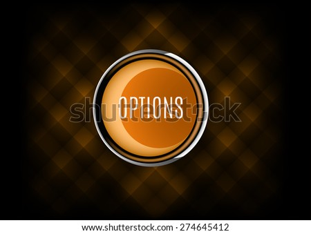 Chrome button OPTIONS with plastic elements. Vector icons. - stock vector