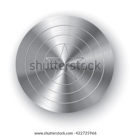 Chrome comics shield with realistic metal texture. Shield with star. Metal shield. Circle shield with star on the center. Stock vector. - stock vector