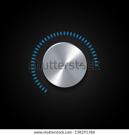 Chrome Dial on a Black Background with Glowing Blue Indicator lights - stock vector