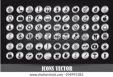 chrome icons over black background. vector illustration - stock vector