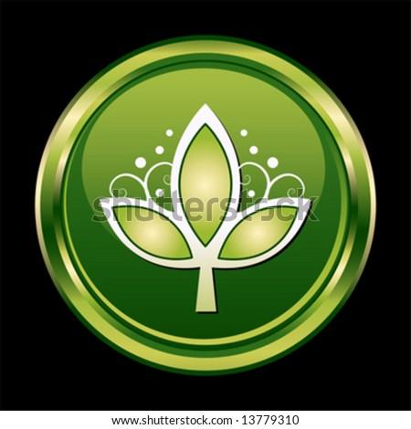 Chrome leaf button symbol - stock vector