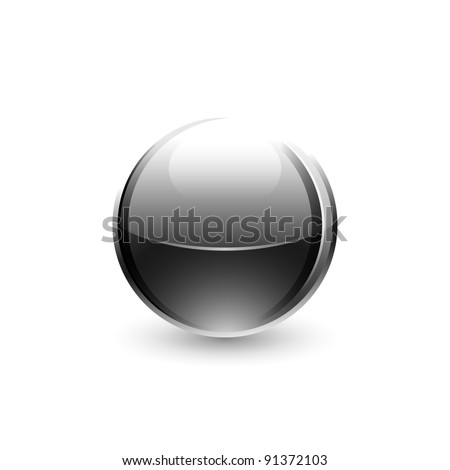 Chrome metal ball with black drop shadow on white background. This vector illustration saved 10 eps - stock vector