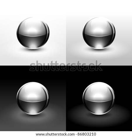 Chrome metal ball with drop black shadow and glowing on white, gray and black background - stock vector