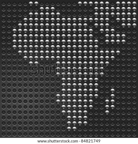 Chrome metallic buttons Map of African continent on perforated metal texture black background. This is a fragment my vector world map — image ID: 84818386 - stock vector