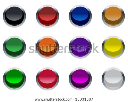 Chrome Rimmed Internet Buttons - stock vector