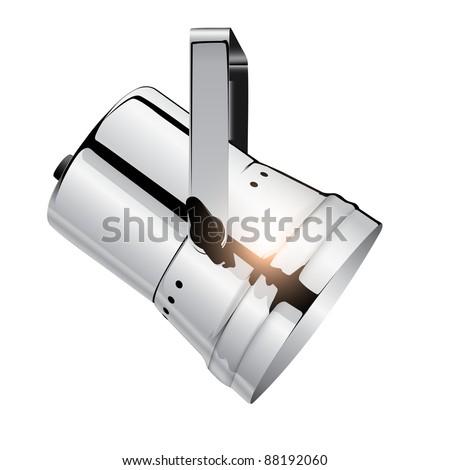 Chrome spotlight, realistic vector illustration. - stock vector