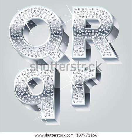 Chrome symbols inlaid of diamond crumbs. Letters Q R - stock vector
