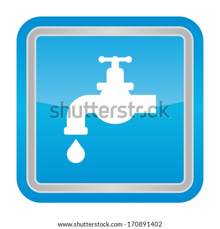 Chrome tap with a water drop (glossy rounded button with metallic frame, blue version) - stock vector