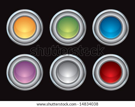 Chrome vector glossy internet buttons - stock vector