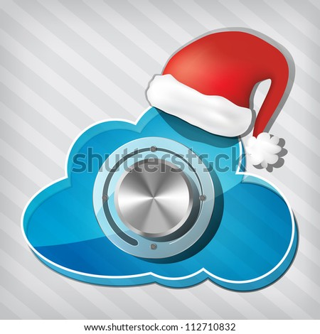 Chrome volume knob on transparency cloud with santa claus hat on a stripped background - stock vector