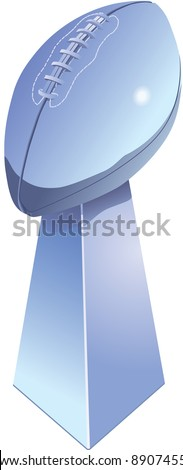 Chromed football trophy, isolated with white background. - stock vector
