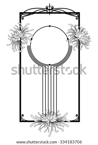 chrysanthemum, floral frame in black and white colors - stock vector