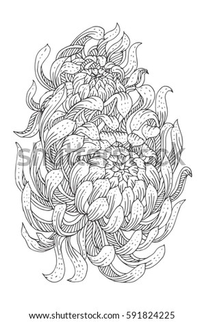 chrysanthemum hand drawn flower with ethnic floral pattern coloring page zendala - Chrysanthemum Book Coloring Pages