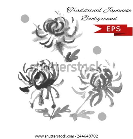 Chrysanthemum ink illustration. Sumi-e vector image. - stock vector