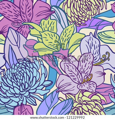 chrysanthemums and lilies seamless pattern - stock vector