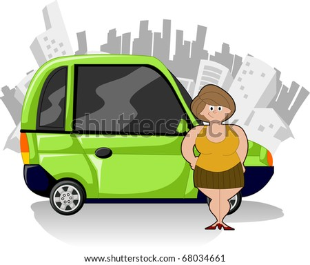 Chubby cartoon woman with green compact car and city on the background - stock vector