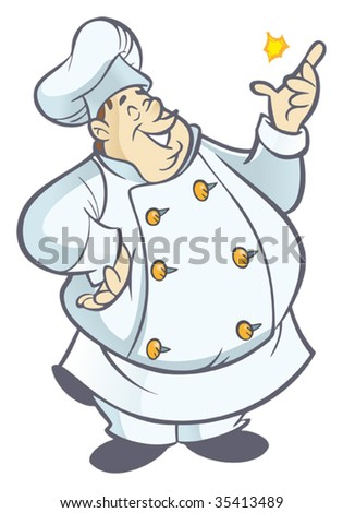 Chubby chef cartoon in white uniform snapping fingers - stock vector
