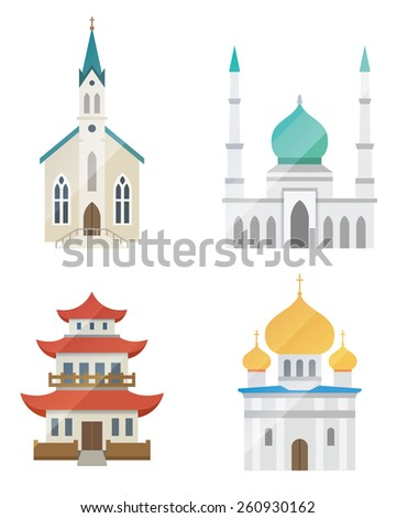 Church architecture vector set on white background - stock vector