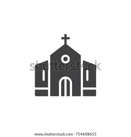 Church Building Icon Vector Filled Flat Stock Vector 754608655