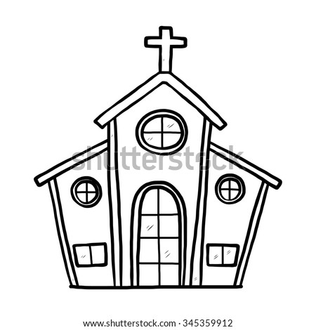 church / cartoon vector and illustration, black and white, hand drawn, sketch style, isolated on white background.