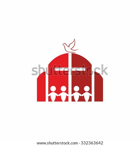 Church. House of Christ, group of people, cross and dove.  - stock vector
