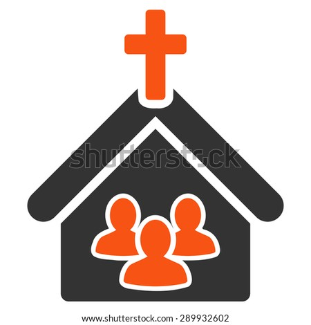 Church icon from Business Bi-color Set. This flat vector symbol uses orange and gray colors, rounded angles, and isolated on a white background. - stock vector